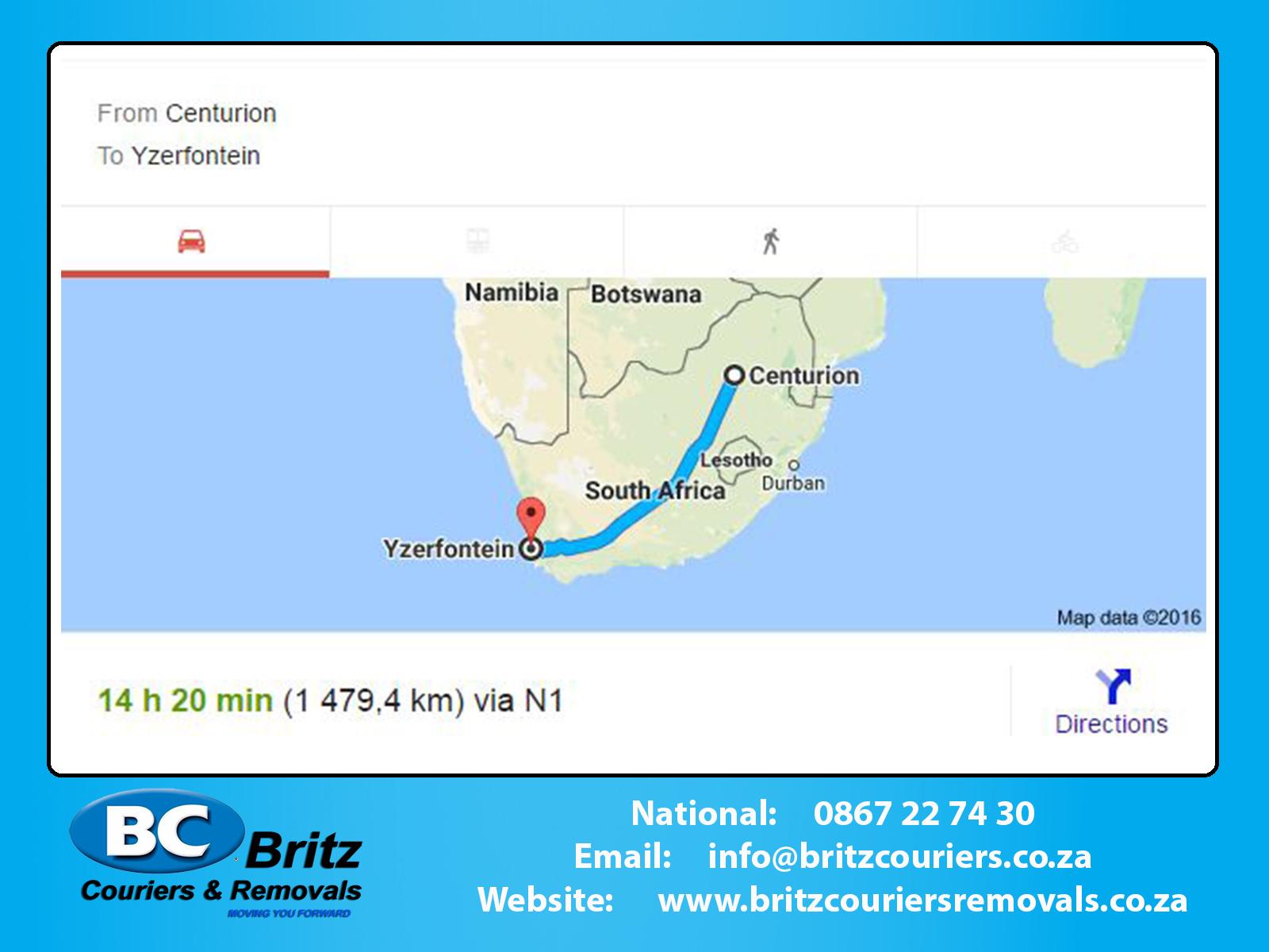 Furniture Removals Centurion To Yzerfontein Britz Couriers Removals